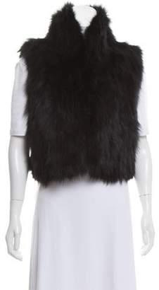 Adrienne Landau Fox Fur Mock Neck Vest
