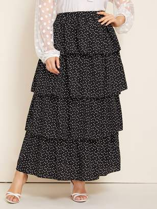 Shein Plus Confetti Print Layered Hem Skirt