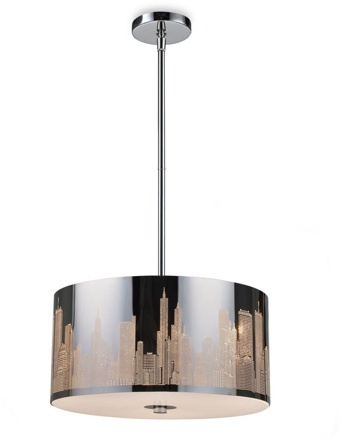 Bed Bath & Beyond ELK Lighting Skyline 3-Light Pendant in Polished Stainless Steel