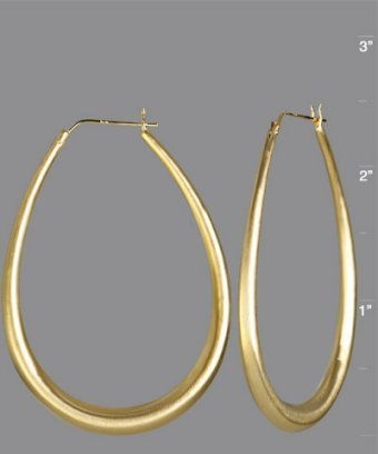 Argento Vivo gold tapered oval hoop earrings