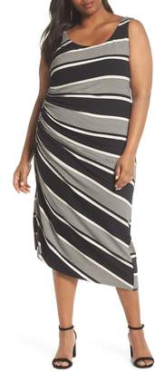 Vince Camuto Venue Block Stripe Ruched Body-Con Dress