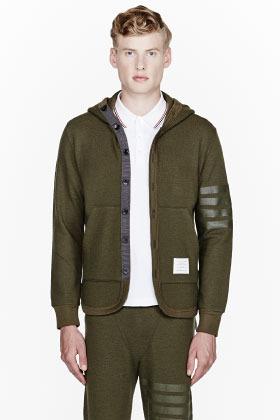 Thom Browne Dark Green Striped-Sleeve Hoodie