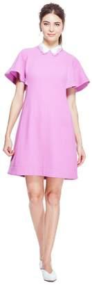 Lela Rose Wave Lace Trim Flutter Sleeve Tunic Dress With Detachable Collar
