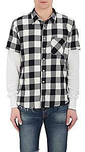 NSF Men's Buffalo-Checked Cotton Combo Shirt - Black Size S
