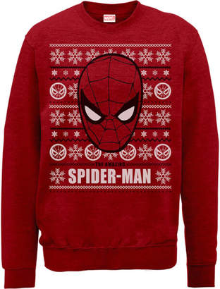 Marvel Comics The Amazing Spiderman Face Red Christmas Sweatshirt