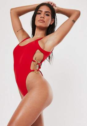 Missguided Red Double Ring Scoop High Leg Swimsuit