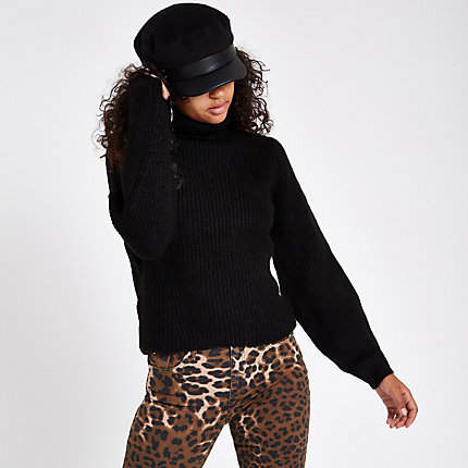 Womens Black knit roll neck jumper
