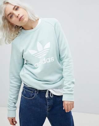 adidas adicolor Trefoil Oversized Sweatshirt In Mint