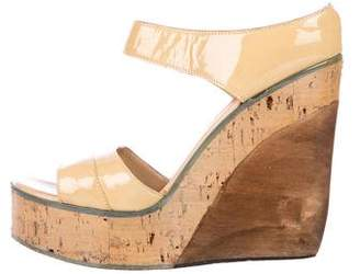CNC Costume National Patent Leather Wedge Sandals