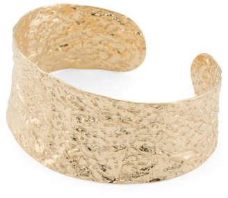 Made In Italy Gold Plated 925 Silver Hammered Large Cuff Bracelet