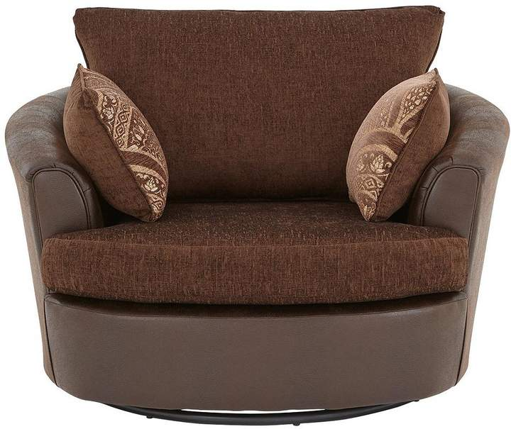 Gatsby Fabric And Faux Snakeskin Swivel Chair