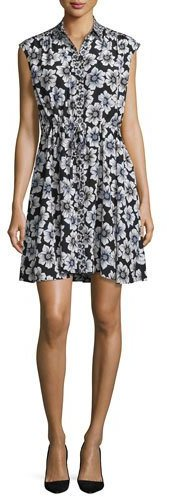 Kate Spade Kate Spade New York Collared Floral Silk-Blend Shirtdress, Black