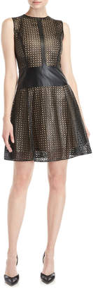 Carolina Herrera Laser Cut Leather Fit & Flare Dress