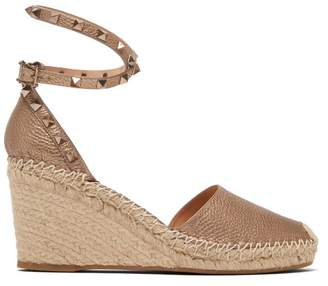 Valentino Rockstud Leather Espadrille Wedges - Womens - Gold