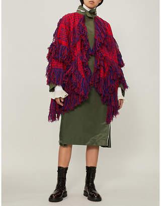 Sacai Floral-pattern fringed wool jacket