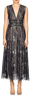 J. Mendel Women's Beaded Metallic Lace Cocktail Gown - Navy, Gold