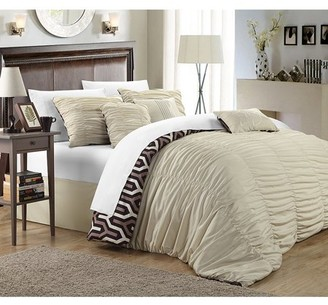 Chic Home Lester 7-Piece Reversible Ruffled Comforter Set