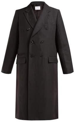 Toga Pvc Panelled Wool And Linen Blend Coat - Womens - Black