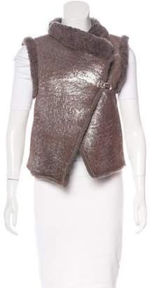Rozae Nichols Shearling Metallic Vest