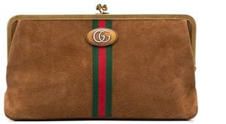 Gucci brown Ophidia suede clutch