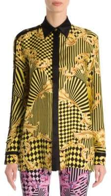 Versace Long-Sleeve Print Silk Blouse