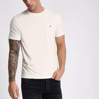 Authentic Clearance Really Mens Ecru wasp faux suede muscle fit T-shirt River Island Cheap Nicekicks Cheap Online uZJvEp