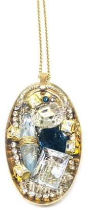 Maria Kivi Jewelry Mosaic Vintage Crystal Pendant Necklace