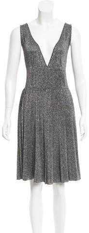 pradaPrada Metallic Pleated Dress