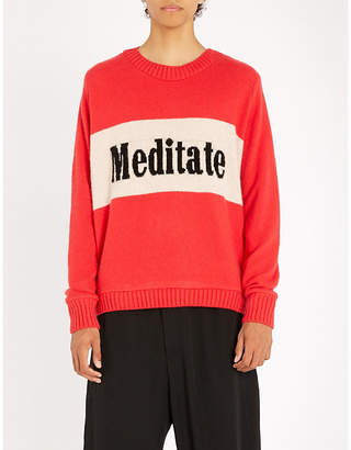 The Elder Statesman Meditation-intarsia cashmere jumper