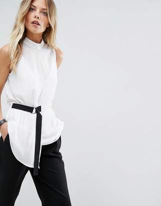 Asos Design Minimal Sleeveless Top with Contrast D-ring Detail