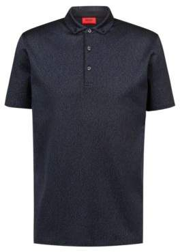 HUGO Boss Slim-fit polo shirt in mercerized cotton jacquard L Dark Blue