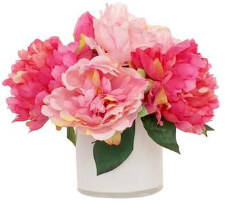 House of Hampton Artificial Silk Peonies Floral Arrangement in Decorative Vase Flower