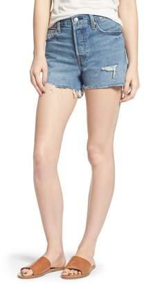 Levi's Wedgie High Waist Cutoff Denim Shorts (Blue Your Mind)