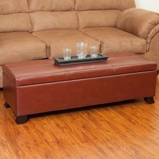 Noble House Ruth Bonded Leather Storage Ottoman, Brown