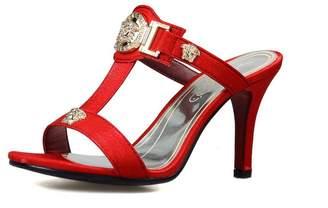 PeepToe AdeeSu Womens Pumps-Shoes Peep-Toe No-Closure Chain-Strap High-Heel Cold Lining Studded Road Microfiber Dye-to-Match Urethane Pumps Shoes SLC03526