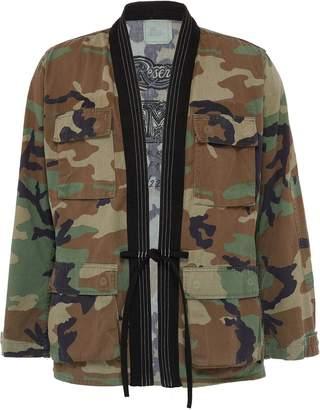 Atelier Reservé Contrast lapel camouflage print unisex kimono jacket