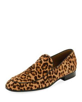 Gianvito Rossi Marcello Men's Leopard-Print Calf Hair Loafer, Leopard