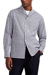Officine Generale Men's Striped End-On-End Button-Front Shirt - Navy