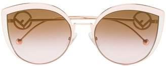 Cat Eye Fendi Eyewear pink rose F is Fendi metal sunglasses