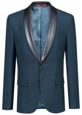 HUGO Boss Extra-slim-fit jacket faux-leather lapels 38R Dark Green