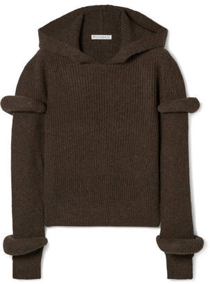 J.W.Anderson Hooded Ribbed Wool And Alpaca-blend Sweater - Army green