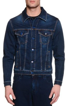 Stefano Ricci Contrast-Stitch Denim Jacket $1,275 thestylecure.com