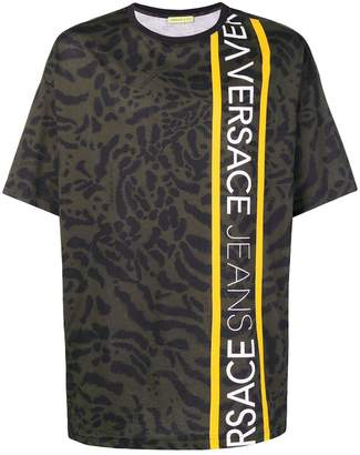 Versace animal print logo trim T-shirt