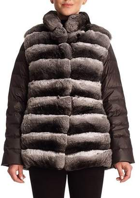 Gorski Chinchilla Fur & Silk Two-Piece Down Jacket