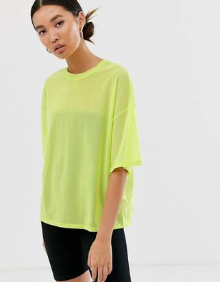 Monki oversized mesh short sleeve top in bright green