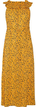 MICHAEL Michael Kors - Belted Printed Stretch-crepe Midi Dress - Saffron $140 thestylecure.com