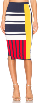 Tommy Hilfiger TOMMY X GIGI Patchwork Skirt $150 thestylecure.com