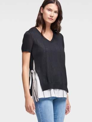 DKNY Short-Sleeve V-Neck Top With Striped Underlay