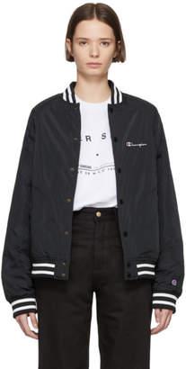 Champion Reverse Weave Black Satin Bomber Jacket