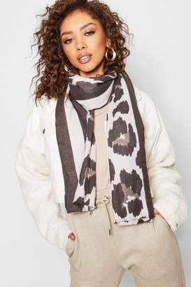 boohoo Stripe & Leopard Heavyweight Scarf